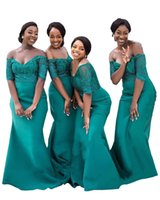 2022 Gark Green Afiran Wedding Guest Dresses Plus Size Off Shoulder Floral Lace Satin Open Back Bridesmaid Dress Party Women