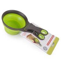Dog Bowls Alimentatori 118/237/473ML Gel di silice pieghevole Gel di misurazione tazza borsa sigillatura clip pet gatto alimentazione cucchiaio da scoop