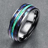 男性女性のための結婚指輪8mmのタングステンの炭化物自然緑のオパールとアワビのシェルのインレイバンドのドームのメンズ婚約指輪