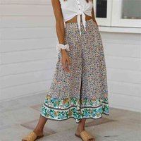 Casual wide leg boho pants women floral print palazzo long high waist beach trousers female vacation holiday 210514