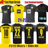 21 22 قمصان دورتموند لكرة القدم بوروسيا 2021 2022 HAALAND REUS NEONGELB BELLINGHAM قميص كرة القدم سانشو هوملز براندت طقم أطفال جيرسي