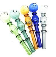14cm Glass Straight Pot Colorful double bubble bongs Oil Burner Pipes Water Rigs