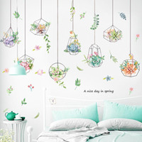 Wall Stickers Garland Hanging Basket Plant Sticker Painted Potted Sofa Bedroom Background Decoration Home