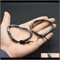 Strands perles Black Hématite Perles Bracelet Femmes Hommes Bracelets Bracelets Mode Bijoux Cadeau Will et Sandy 0Am5H Gjfap