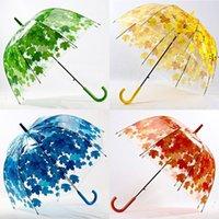 Simanfei 4 Colors Maple Leaf Leaves Cage Umbrella Transparent Rainny Sunny Umbrella Parasol Cute Umbrella Women Cute Clear Apollo BWA8795