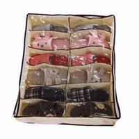 스토리지 가방 1PCS 크리 에이 티브 비 짠 직물 신발 캐비닛 방진 옷장 그리드 12 침대 주최자 상자 hol Q4i8