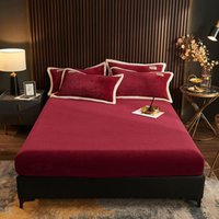 Sheets & Sets Bonenjoy 1Pc Solid Color Soft Plush Bed Cover Queen King Size Double Red Mattress Pad Plain Dyed Warm Sheet With Elastic