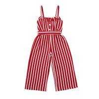 Clothing Sets Kids Girls Fashion Sleeveless Striped Jumpsuit Summer Stylish For Children