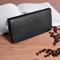 Brieftasche Männer Lange Reißverschluss Echtes Leder Brieftaschen Male Farbe Männliche Business Clutch Mobiltelefon Große Kapazität Kartenhalter Geldbörse