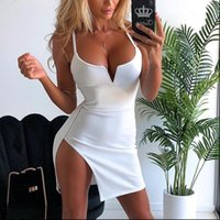 Sexy Spaghetti Strap V Neck Women Dresses Low Chest Bag Hip Split Summer Woman Dress Club Vestidos For Womens Clothes