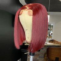 Lace Wigs Bone Straight Short Bob Human Hair Burgundy 99j Part Wig For Black Women T Pre Plucked