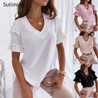 Women's Blouses & Shirts Summer Woman Women Fashion Tops Ruffles Short Sleeve Shirt V Neck Casual Top Female Clothing Elegant Lady Blouse