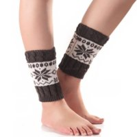 Christmas Snowflake Anklet Leg Warmers Knit Short Boot Cuffs Toppers Leggings warm Socks Women Girls Autumn Winter Loose Stockings White Black Will and Sandy