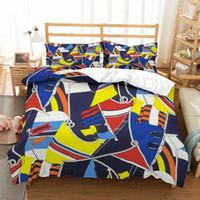Home Textiles Bloque Geométrico Spot Ropa de cama Microfibra Conjuntos de camas de microfibra 2 / 3pcs Multicolor Funda de edredón Conjunto de funda de almohada Doble Reina King Tamaño