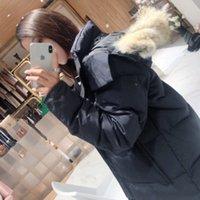 Winter Women's Casual Moda Clássica REAL Lobo Pele Down Jacket com boa qualidade Zipper à prova de vento Ao ar livre de manga longa espessura Bolso quente de largura Bolso Slim 2 Estilo Escolha