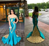 Modest Gold Lace Embroidery Aqua Blue Mermaid Prom Evening Dresses Off the shoulder with Sleeves Satin Applique Long Cocktail Pageant Dresess