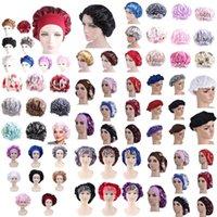 1pc Adjust Solid Satin Bonnet Hair Styling Cap Long Care Women Night Sleep Hat Silk Head Wrap Bath Shower For Bathroom Caps