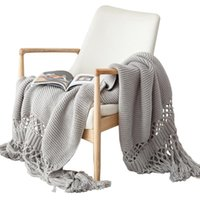 Blankets Nordic Sofa Chunky Knitted Throw Blanket With Tassels Stylish Hand-Knit Hollow Out Solid Color Air Conditioning Shawl Cover T8NE