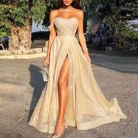 Reflective Champagne Sequins Evening Dresses Long evening gowns Ruched High Split Formal Party Floor Length Prom Dresses 2021