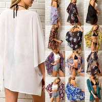 Summer Women Chiffon Cover Up Boho Floral Kimono Cardigan Sheer Half Sleeve Beach Swimwear Blouse Shirts For Female Tops Women's