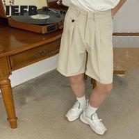 Men's Shorts IEFB Summer Korean Trend Apricot Casual Plaid Fashion Loose Wide Leg Straight Knee Length 2021 9Y8019