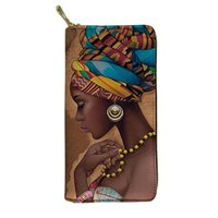 Wallets HYCOOL Long Wallet Women Scarf African Black Girl Beauty Printed Ladies PU Leather Purse Bag Girls Travel Smooth Zipper Clutch