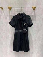 Женщины Модное платье с короткими рукавами Весна для леди Тонкие платья с молниейными буквами Сумка Ремень Отрегулируйте классические рубашки Пушистые юбки
