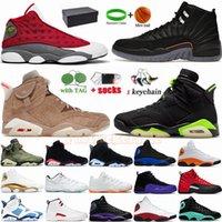 Klasik Jumpman 6 Elektrikli Yeşil 6 S Basketbol Ayakkabıları İngiliz Haki 13 13 S Red Flint Gri Hiper Kraliyet Erkek Spor Sneakers Eğitmenler