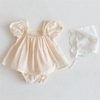 Girl's Dresses Born Baby Girls Clothes Summer Princess Lace Dress Outfits Solid Cute Clothing Set Girl 0-24M