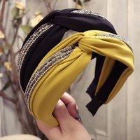 Barrettes Cheveux Barrettes Trendy Inlaid strass Bandeau large-bordée pour femmes Couleur pure Color Bandeau Girl Turban Accessori Headwra