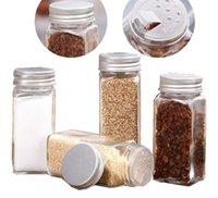 Kräuter-Gewürzwerkzeuge 80 ml Gläser Salzpfefferflaschen leerer quadratischer Container-Shaker mit luftdichten Deckel mit luftdichten Metallkappen