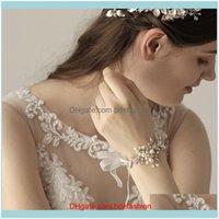 Charm Jewelrycharm Bracelets Flower Leaf Wedding Pearls Crystal Wrist Bangles Girl Women Evening Dress Bridesmaids Bride Jewelry Bridal Aess