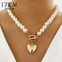 17km vintage boda perla gargantilla collar para mujeres geométrica corazón moneda cerradura collares collares joyería collier de perles