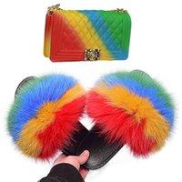 Оптовые дешевые женские лисицы мех скользиты большие размеры дамы тапочки радуга конфеты сумки желе кошелек и меховые скольжения