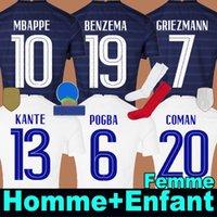 camisa de futebol France Euro 2020 2021 BENZEMA MBAPPE GRIEZMANN POGBA KANTE soccer jersey França anos Futebol equipe da Copa do Mundo Homem Mulher + Kit Criança football shirt