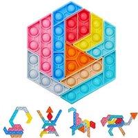 DHL Rainbow Color Push Bubble Bubble Tangram Puzzle Toys Sensory Fidget Burbujas dedo Miembro De archivo De Desk Top Padre Niño Juego Formas Cambiando