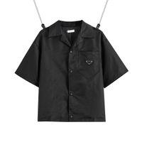 2021 Estados Unidos Mulheres Europeias e Homens Camisa Marca Casual Blusas Curtas Classic Triângulo Invertido Solto Importado Alta Qualidade Nylon Ferramentas de Verão