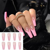False Nails 24pcs Box Press On Artificial Full Cover Detachable Nail Tips Wearable Fake French Pink Coffin