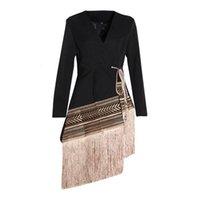 Loose Fit Spliced Contrast Color Tassel Belt Jas New V-neck Long Mouw Women Jas Mode Herfst Winter 2020