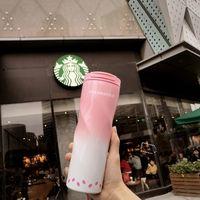 Starbucks Sakura Pink Spiral Vácuo Copo de Aço Inoxidável Acompanhante Copo Cereja Blossom Série 473ml Copo De Café Tumbler