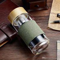 Botellas de agua de vidrio Tumblers resistentes al calor con té de acero inoxidable Infusor de té Strainer Office Car Taza de bebida 400ml 5 diseños WLL729