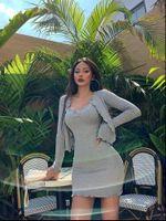 Женские трексуиты Xibani Осенняя сексуальная богиня костюм юбка из двух частей набор коротких кардиганов с длинным рукавом стройное платье с твердым веществом