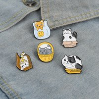 Animal Cat Series Cartoon Brooches Alloy Box Basket Plastic Bag Enamel Pins Women Party Gift Clothes Backpack Collar Badge Jewelry Accessories Wholesale