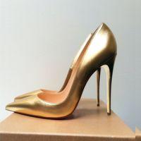 캐주얼 디자이너 패션 여성 드레스 신발 골드 매트 가죽 뾰족한 발가락 Stiletto 스트리퍼 하이힐 댄스 파티 저녁 펌프 대형 44 12cm