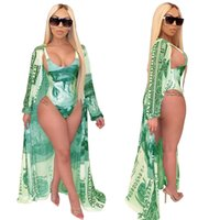 Damska Swimsuit Moda Casual Print Cape + Bikini Jednoczęściowe stroje kąpielowe z pasem Płaszcz Letni Plaża Outdoor Swim Wear G64Gom8