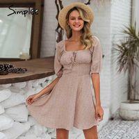 Simplee elegante colletto quadrato estate abiti in chiffon abiti da spiaggia casual da donna vintage ruffles boho dress abito vestiti femme vestidos1