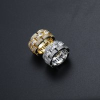 Hip Hop Rock Ring Men Luxury Zircon Gold Rhinestone Cuban Chain Iced Out Women Exquisite Gift Jewelry