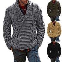 Zogaa Herren Pullover Mantel Winter verdicken Twist Strickwaren Jacke lässig warmes Stricken Zweireiher Jumper männlich Strickjacke Pullover1