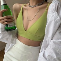 Chest Padded Wireless Bralette Simple Tank Top Sexy Solid V Neck Strap Hollow Backless Cross Lace-Up String Crop Camis Tee Women's Tanks &