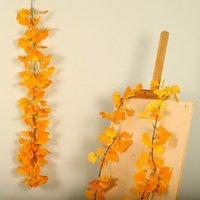 الزهور الزهور أكاليل الاصطناعي جارلاند الجنكه ورقة النباتات الخضراء يترك وهمية الروطان اكليلا حائط شنقا المنزل الزفاف HYD88